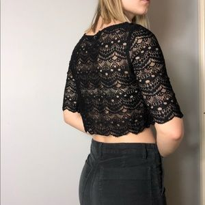 Urban Outfitters Tops - 🖤Black Lace Crop Top 🖤 S 🖤 UO